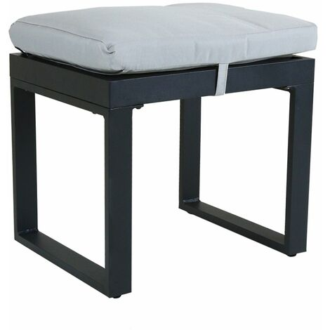 Charles Bentley Black Extrusion Aluminium Stool with 5cm Thick Cushion