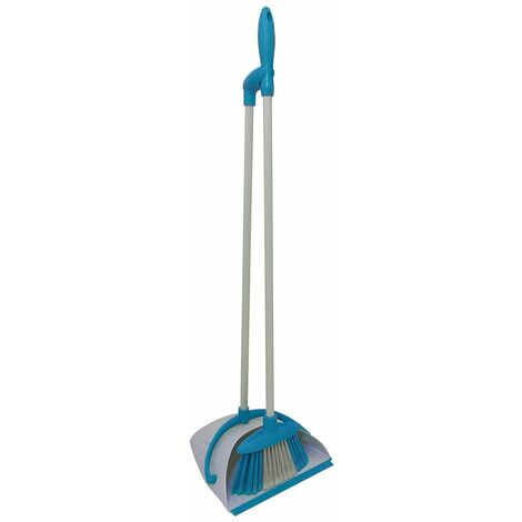 Charles Bentley Brights Indoor Long Handled Lobby Dustpan & Brush Set - Blue