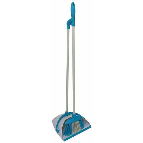 Charles Bentley Brights Indoor Long Handled Lobby Dustpan & Brush Set - Blue - Blue