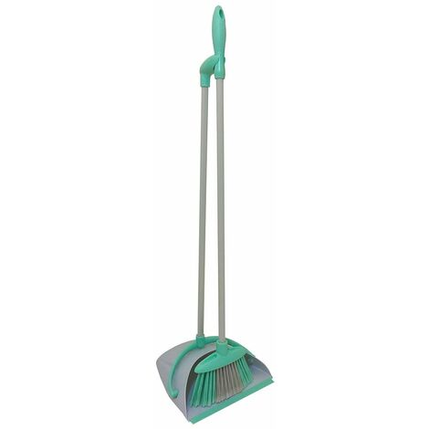 Charles Bentley Brights Indoor Long Handled Lobby Dustpan & Brush Set Mint Green