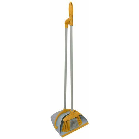 Charles Bentley Brights Indoor Long Handled Lobby Dustpan & Brush Set - Yellow