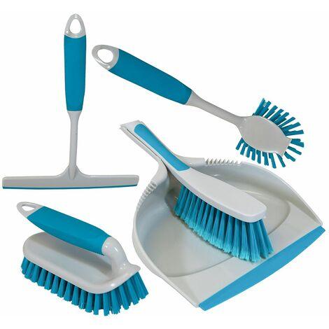 Charles Bentley 'Brights' Kitchen Bundle Dustpan & Brush Washing Up Blue - Blue
