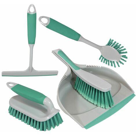 Charles Bentley 'Brights' Kitchen Bundle Dustpan & Brush Washing Up Mint Green - Green