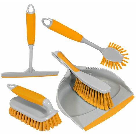 Charles Bentley 'Brights' Kitchen Bundle Dustpan & Brush Washing Up Yellow - Yellow