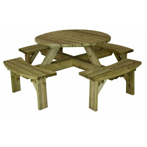 Charles Bentley British Made Round Wooden Supported Picnic Table - Natural Wood