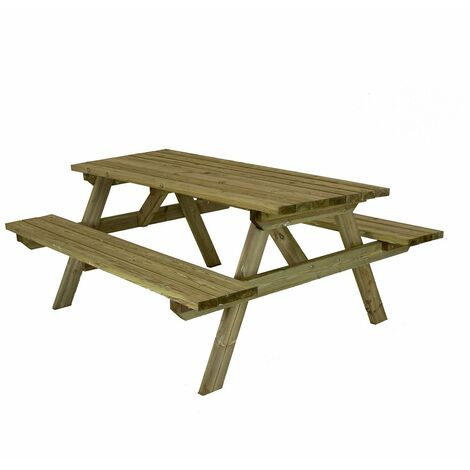 Charles Bentley British Made Superior Wooden Rectangular Picnic Table - Natural Wood