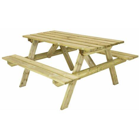 Charles Bentley British Made Wooden Picnic Table - Natural Wood