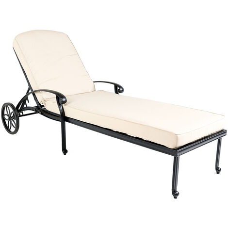 Charles Bentley Cast Aluminium Sun Lounger Recliner With Beige Cushion - Black