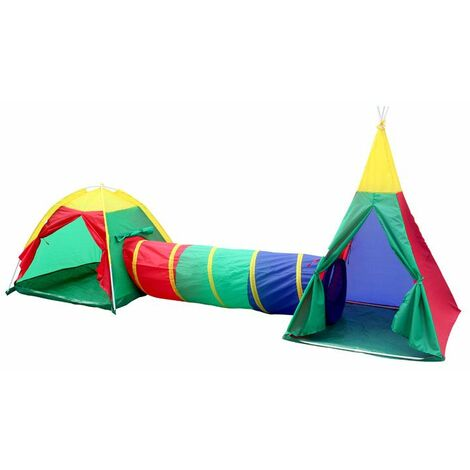 Charles Bentley Children's 3in1 Adventure Indoor/Outdoor Tepee Play Tent Set