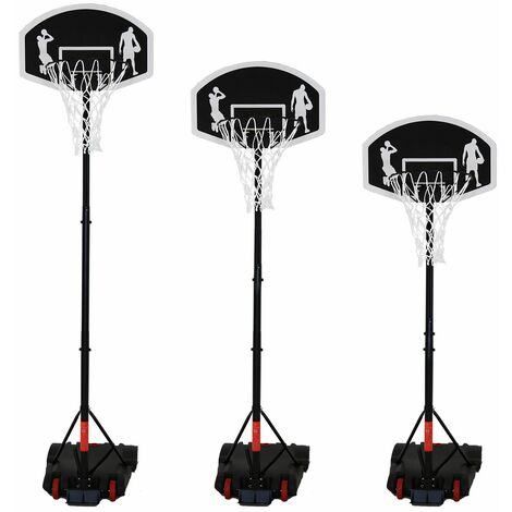 Charles Bentley Children's Adjustable Basketball Hoop with Backboard 1.38 - 2m - Black