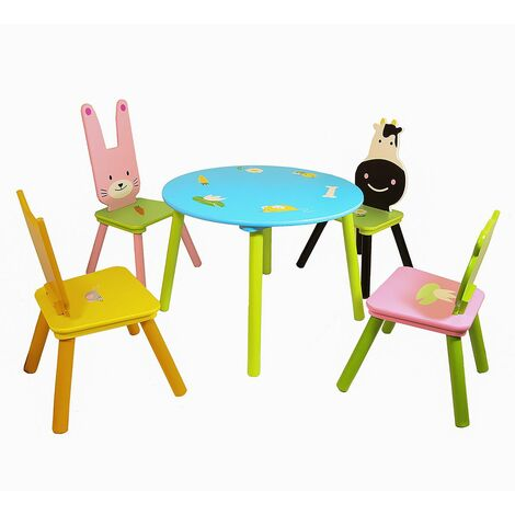 Charles Bentley Children's Animal 5 Piece Furniture Wooden Table and Chair Set - Multi-Coloured