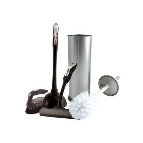 Charles Bentley Chrome Toilet Brush Cleaning Set