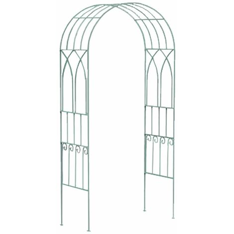 Charles Bentley Decorative Wrought Iron Arch - Sage Green - Green