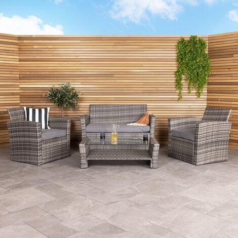 Charles Bentley Deluxe Modern 4 Piece Rattan Garden Furniture Set - Natural/Grey