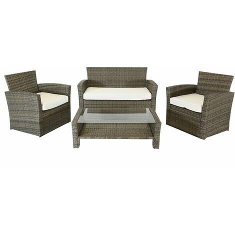 "main image of ""Charles Bentley Deluxe Modern 4 Piece Rattan Garden Furniture Set - Natural/Grey"""