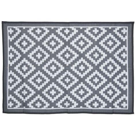 "main image of ""Charles Bentley Diamond Pattern Lightweight Waterproof Indoor/Patio Medium Rug - Grey, White"""