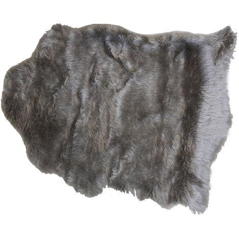 Charles Bentley Faux Fur Fluffy Soft Cosy Rug Silver Grey- Small 75x 90cm
