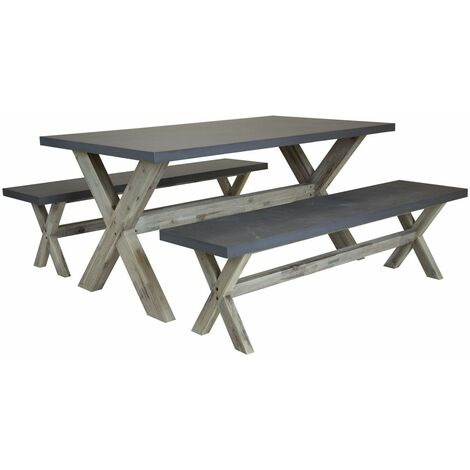 Charles Bentley Fibre Cement & Wood Dining Set - Including Table & Two Benches - Grey