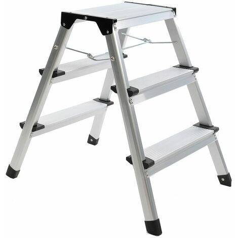 Charles Bentley Folding Kitchen Home 3 Step Aluminimum Stool Ladder - Silver