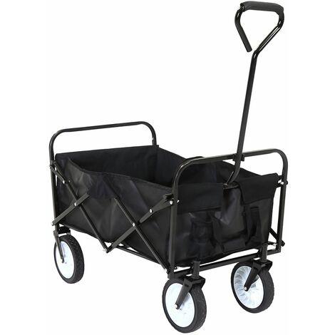 Charles Bentley Folding Wagon Festival Trolley Black H59xL87xW55 70kg
