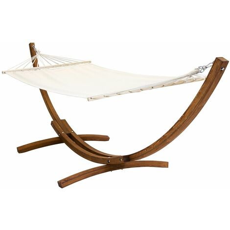 Charles Bentley Free Standing Cream Canvas Garden Hammock With Wooden Arc Stand