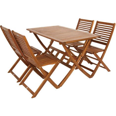 "main image of ""Charles Bentley FSC Acacia Hardwood 5pc Garden Furniture Set - Table & 4 Chairs - Natural"""