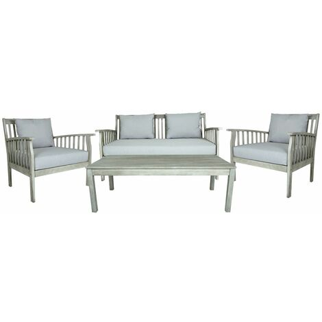 Charles Bentley FSC Acacia White Washed 4 Piece Garden Outdoor Lounge Set - White