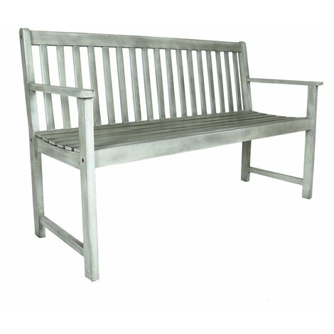 Charles Bentley FSC Acacia White Washed Wooden Garden Patio Outdoor Bench - White