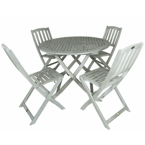 Charles Bentley FSC Acacia White Washed Wooden Outdoor Patio Dining Set - 4 Seat - White