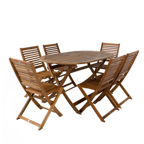 Charles Bentley FSC Acacia Wooden Furniture Patio Oval Table & 6 Chairs (7 Pc) - Natural