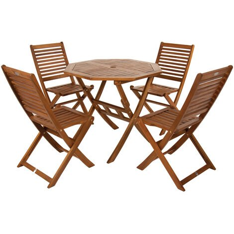 "main image of ""Charles Bentley FSC Acacia Wooden Octagonal Table & Chairs 5pc Set - Natural"""