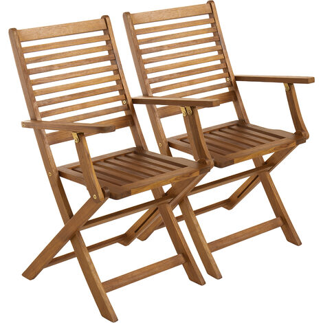 Charles Bentley FSC Acacia Wooden Pair of Foldable Outdoor Dining Armchairs - Natural