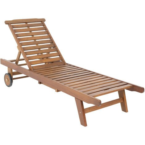 """main image of """"Charles Bentley FSC Acacia Wooden Reclining Sun Lounger With Pull Out Tray - Brown"""""""