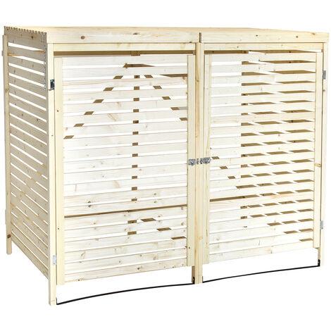 Charles Bentley FSC Double Wooden Bin Store Wheelie Bin Storage Unit Lifting Lid - Brown