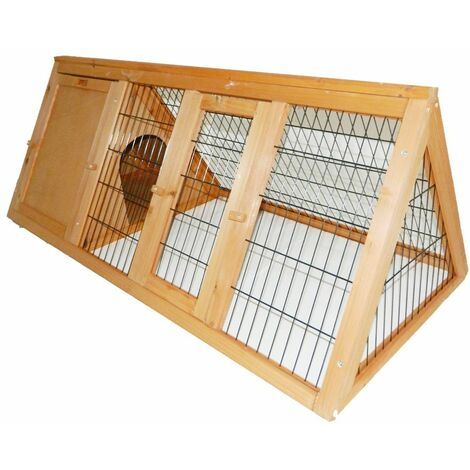 Charles Bentley FSC Frame Wooden Outdoor Portable Rabbit Hutch Guinea Ferret Run - Brown