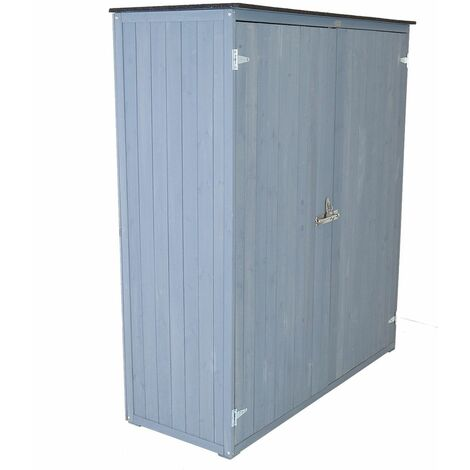 Charles Bentley FSC Garden Chest Storage Shed H155 x L55 x W138cm Grey Wooden