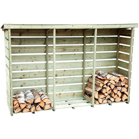 Charles Bentley FSC Nordic Spruce Wooden 3 Log Store Firewood Storage Heavy Duty