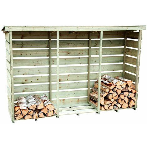 Charles Bentley FSC Nordic Spruce Wooden 3 Log Store Firewood Storage Heavy Duty - Natural