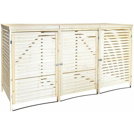 Charles Bentley FSC Triple Wooden Bin Store Wheelie Bin Storage Unit Lifting Lid - Brown