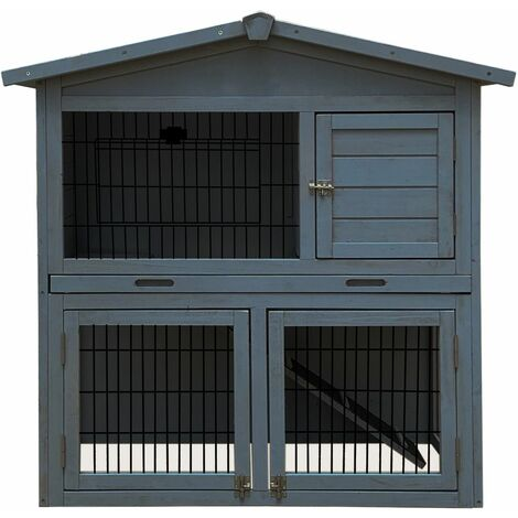 """main image of """"Charles Bentley Two Storey Rabbit Hutch With Play Area Grey/Light Brown"""""""