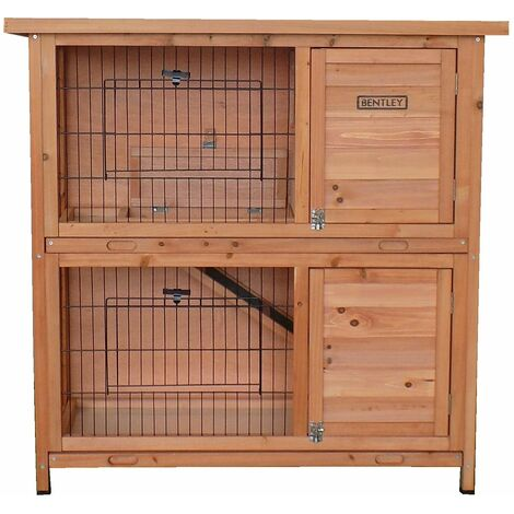 Charles Bentley FSC Two Storey Rabbit Hutch with Tray Natural Wood - Brown
