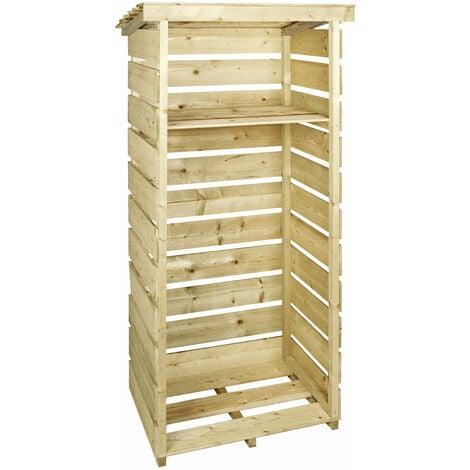 Charles Bentley FSC Wooden Single Tall Log Store Firewood Garden Storage Unit - Brown