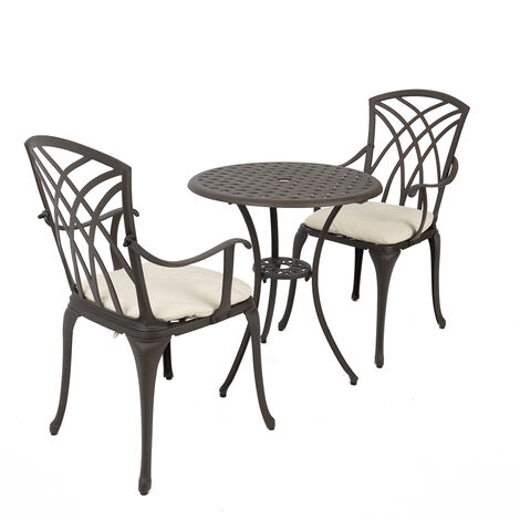 Charles Bentley Furniture 3 Piece Cast Aluminium Bistro Set Table & 2 Arm Chairs - Brown