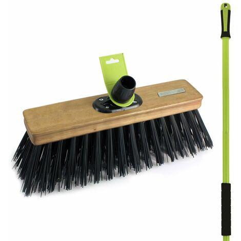 "Charles Bentley Garden 14"" Heavy Duty Pvc Stable Yard Broom Brush - Brown, Green"