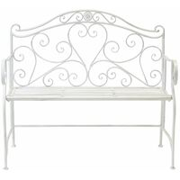 Charles Bentley Garden 2 Seater Wrought Iron Bench Metal Outdoor Seat-B/W
