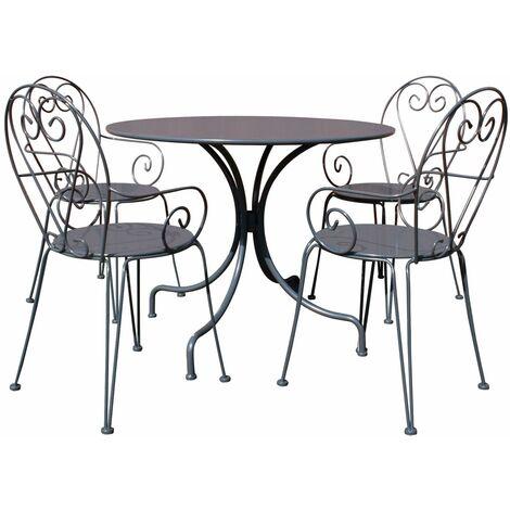 Charles Bentley Garden Furniture Steel Heart 5 Piece Shabby Chic Set-Cream&Grey