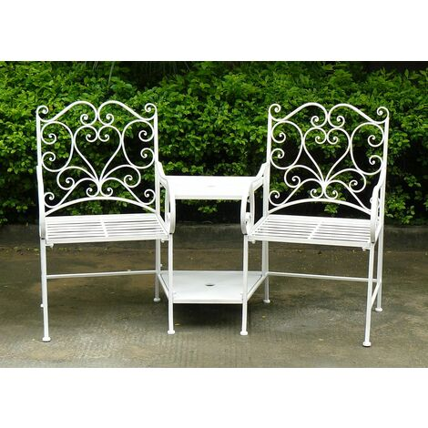 Charles Bentley Garden Heart-Shaped Wrought Iron Companion Seat Love Seat-B/W