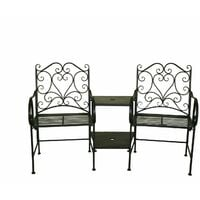Charles Bentley Garden Heart-Shaped Wrought Iron Companion Seat Love Seat-B/W