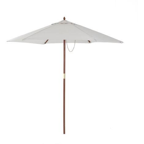 Charles Bentley Garden Large 2.4M Wooden Garden Patio Parasol Shade Umbrella 38M - Light Grey