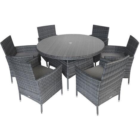 """main image of """"Charles Bentley Garden Outdoor 6 Piece Rattan Dining Set Grey - Grey"""""""